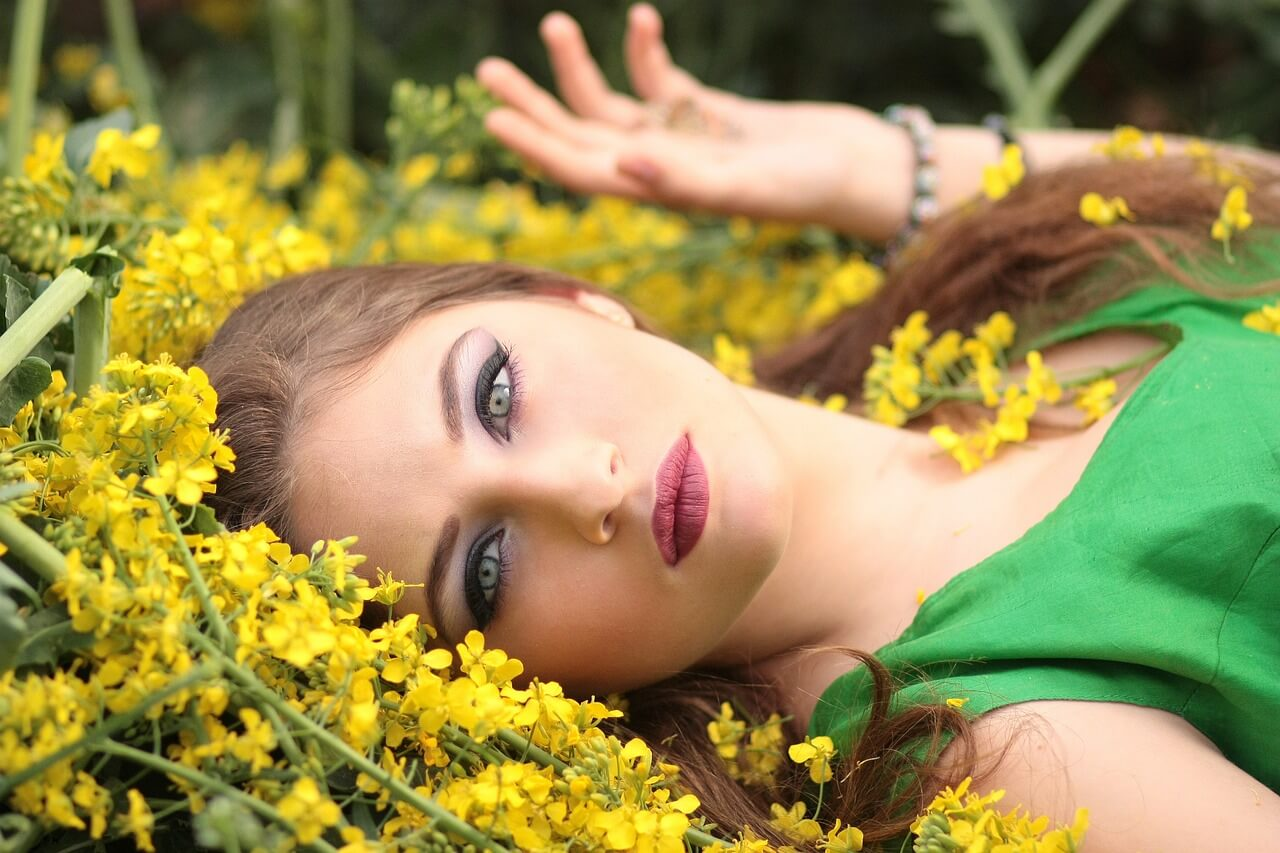 girl and many flowers